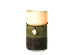 3 LED Mottled Wax Flameless Candle Layerd Green 4x7