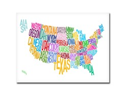 US States Text Map' Canvas Art- 2 Sizes
