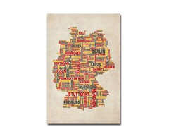 Germany - Cities Text Map 18x24 Canvas
