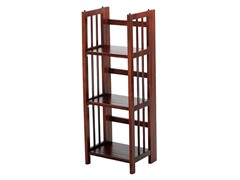 Folding 3 Tier Small Bookcase - Walnut