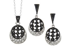 Black/White Marcasite OpenWork CZ Set