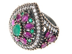 SS Dyed Emerald & Ruby Genuine Semi-Precious Gemstone CZ Ring