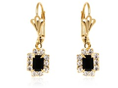 18K GP  Black Clear Crystal Drop Earring