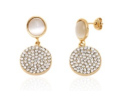 Swarovski Crystal Double Round Drop Earrings