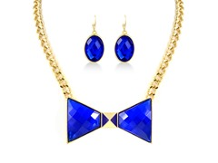 Gold-Plated Blue Sapphire Bow Fancy Set