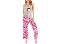 Betty Boop Capri Sleep Set, Gray / Pink Print