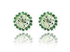 SS Genuine Green Amethyst & Tsavorite Earrings