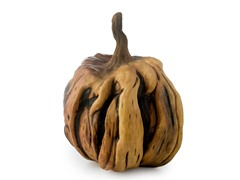 "11.5"" Wooden-Look Pumpkin"