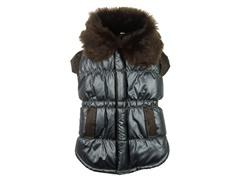Brown Ultra Fur Collar Metallic Jacket