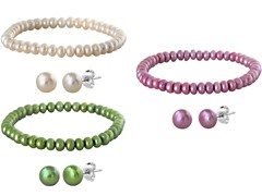 Pearl 3-Piece Bracelets and 3-Pair Earrings Set