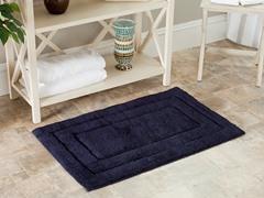 Plush 100% Cotton Bath Mat-Navy-2 Sizes