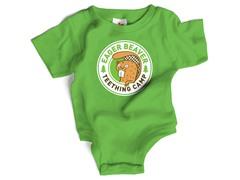 """""""Eager Beaver"""" Green Bodysuit (0-6 mos)"""