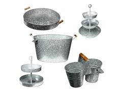 Galvanized Kit-2 & 3 Tier Cake Stand,Tub,Caddy & Tray