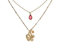 Relic Flower Charm Necklace, Gold