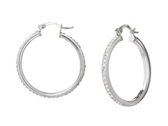 Sterling Silver 30mm Crystal Hoops