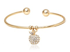 Gold/White Swarovski Elements Apple Charm Bangle