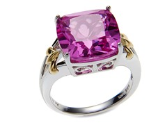 Silver & 10kt Gold Ring w/ Pink Sapphire