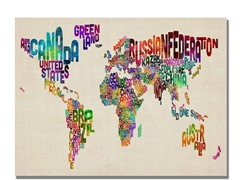 Typography World Map II Canvas