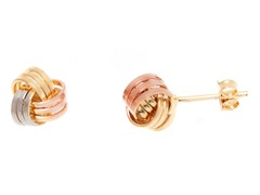 18k Tri-Color Love Knot Earring