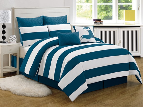 Delia Stripe Printed 8pc Comforter Set Cobalt