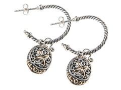 18kt Gold & Silver 1/2 Hoop Earrings