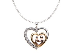 Sterling Silver Tri-Color Diamond Heart Pendant