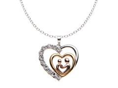 Sterling Silver Tri-Color Diamond Heart Pendant