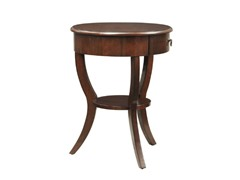 Round Side Table In Espresso Color