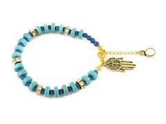 Genuine Turquoise Blue Bead Hamsa Charm Bracelet
