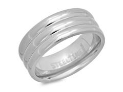 Titanium 3-Row Texture Band Ring