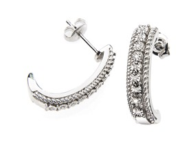 "Genuine Diamond ""J"" Hoop Earring"
