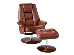 Recliner & Ottoman-Cognac Bonded Leather