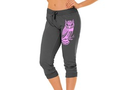 Bottoms Up Owl French Terry Capri, Grey