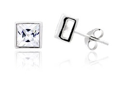 6mm Square CZ Bezel Setting Stud Earring