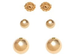 Set of 3 Gold Love Knot & Plain Ball Stud Earrings