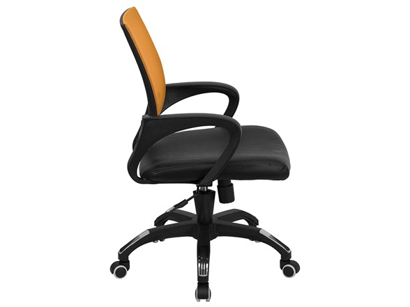 Mid back orng mesh office chair w leather seat for Super comfy office chair