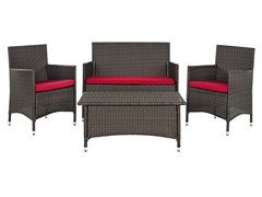 Mojavi 4-Piece Wicker Set, Red/Brown