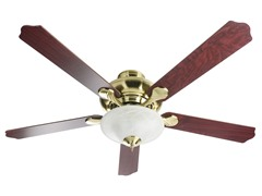 54-Inch English Brass Ceiling Fan with Light Kit