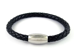 Braided Leather Bracelet, Black