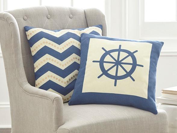 Decorative Pillow Packs : 2-Pack 100% Cotton Decorative Pillows-Nautical Chevron