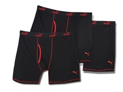 Puma Boxer Briefs, Black/Red 3pk (S, M)