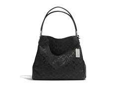 Coach Madison Signature Small Phoebe Shoulder Bag, Black