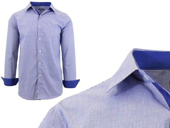 GBH Men's LS Check/Pinstripe Dress Shirt