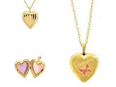 10kt Gold Reversible 'Grandma' Heart Locket w/ Enamel Flowers