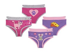 Ez Undeez 2-pk Girls Briefs - Kitty-Mouse (S-M)