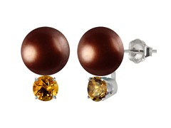Chocolate Pearl & Citrine Earrings