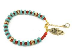 Genuine Turquoise Red Bead Hamsa Charm Bracelet