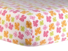 Flower Print Flannel Crib Sheet Pink