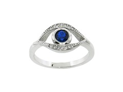 Sterling Silver Pave Evil Eye Ring