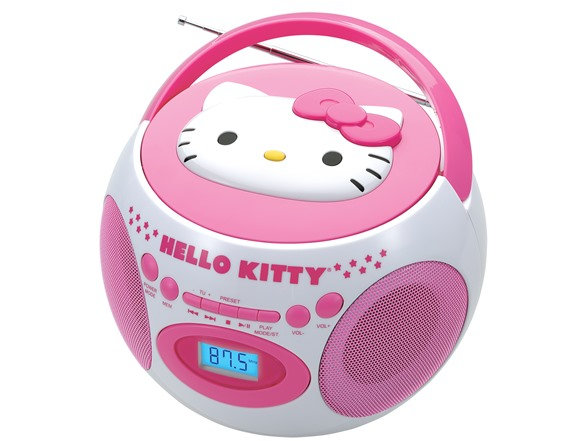 hello kitty cd boombox with am fm and bluetooth. Black Bedroom Furniture Sets. Home Design Ideas